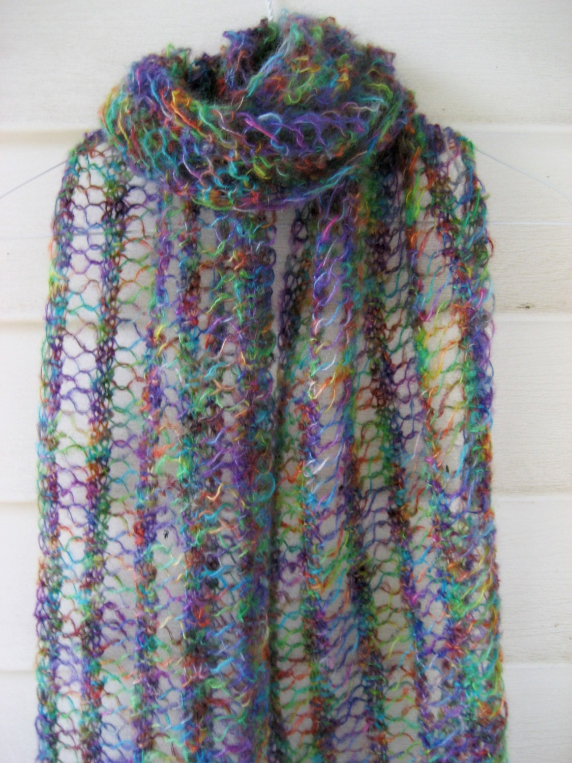 Mohair scarf Lace knit scarf Colorful silky scarf Knit