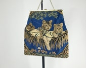 1950-1960s. Bobbie Jerome. three kittens on a hammock. with gold chain and closure. novelty purse