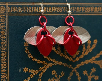 Red and Silver Tri-Scale Earrings