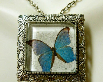 Butterfly convertible pendant or brooch with chain - WAP35-002