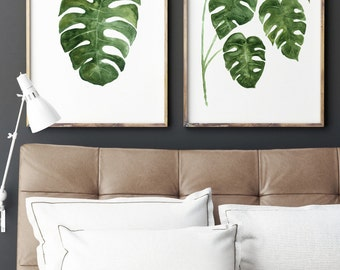 Monstera Leaf Print Abstract Botanical Poster, set 2 Leaves Monstera Deliciosa Illustration, Living Room Home Garden Minimalist Decoration