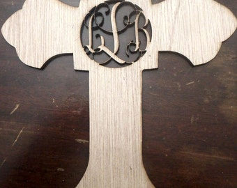 cross monogram/ custom wood cutout/ MEDIUM