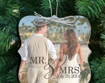 our first christmas ornament  - photo personalized couple's first christmas as mr and mrs ornament FCPO