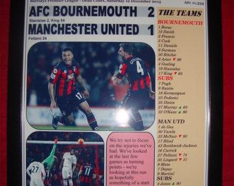AFC Bournemouth 2 Manchester United 1 - 2015 - souvenir print