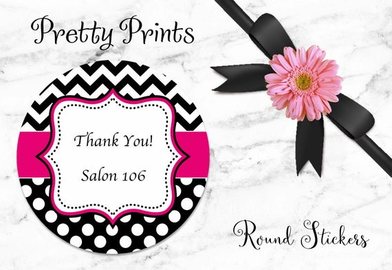 Back to School Stickers, Personalized Stickers - Chevron Stickers -  Dots Black, Hot Pink - Round Labels - Personalized Labels, Tags,