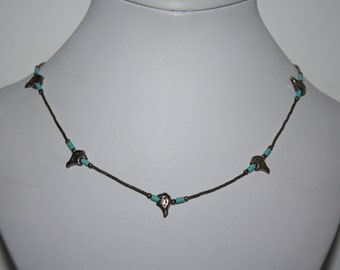 Vintage Turquoise liquid silver Necklace Native American Inspired Bear Fetish 16.5in free ship US