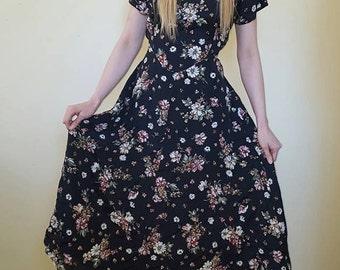 Vintage 80s-90s Floral Print Dress Size M/L
