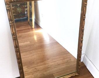 Faux Bamboo Gilt Wood Mirror, Large Wall Mirror, Hollywood Regency