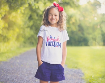Fireworks and freedom embroidered girls shirt