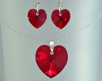 Red Swarovski Jewellery Set, Valentines Present. Red Heart Pendant, Red Crystal Earrings, Bridal Wedding Jewelry, Gift For Her Under 25.