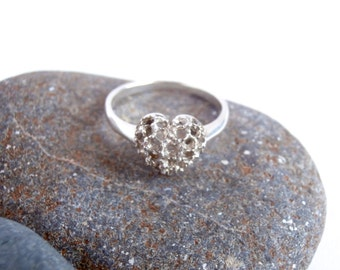 Silver Filigree Ring - Vintage Jewelry - Sterling Silver - Heart Ring