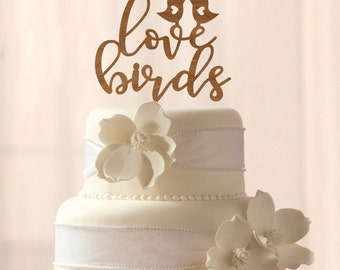 Wood Love Birds cake topper