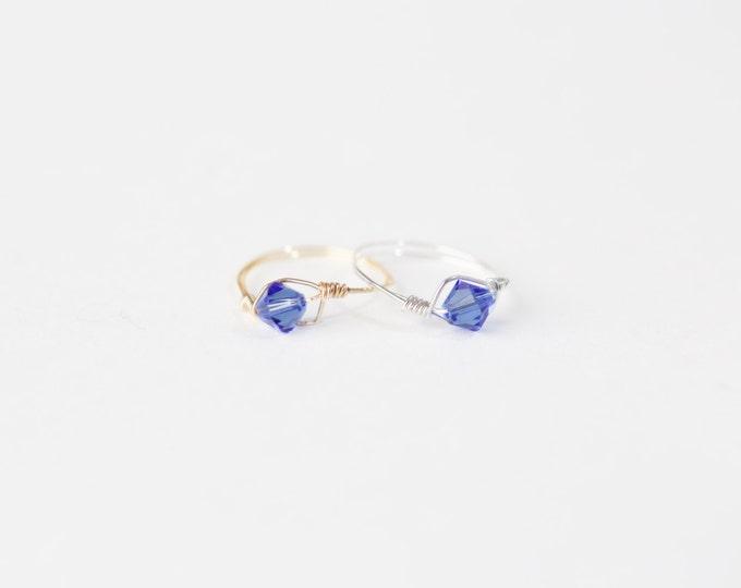 September Birthstone Ring-Swarovski Crystal Birthstone Ring-September Birthstone Crystal Bead Ring-Silver and Ggold Birthstone Ring
