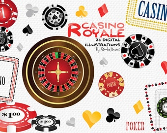 Poker Cliparts, Casino Illustrations, Playing Cards  Clip Arts, Casino Chips Clipart, Roulette Clip Art, Gambling Illustrations Frames  C191