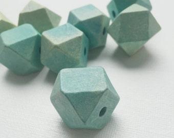 Vintage Wood Turquoise Geometric Cube Large Beads - PA1018