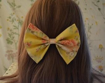 hair bow, hair accessory, pastel yellow, yellow bow, cute hair, floral bow, kawaii bow, pastel hair, handmade