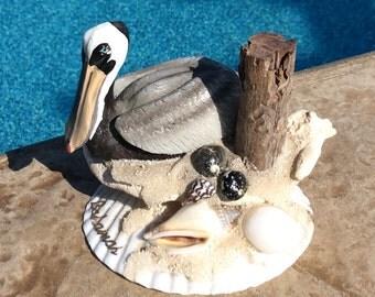 Vintage Seashell Art Pelican Bahamas Souvenir Collectable Coastal Beach
