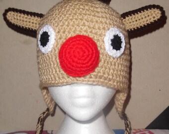 Crochet Reindeer Winter Hat