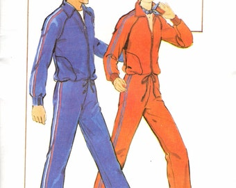 Vintage Men's Track Suit with Drawstring Pattern / Butterick 5200 / Size Small Chest 34-36 Waist 28-30 / UNCUT