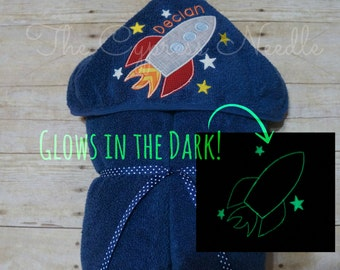 Rocket Hooded Towel, Space Ship Hooded Towel, Space Birthday Gift, Personalized Towel, Glow in the Dark, Boys Hooded Towel, Space Theme