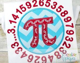 Pi Symbol Sign School Math Applique Digital Machine Embroidery Applique Design 4 Sizes
