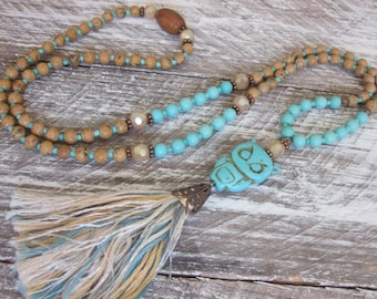 bohemian necklace long beaded tassel necklace turquoise mala beaded owl necklace neutral owl necklace tassel  boho chic bead tassel necklace