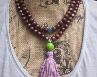 108 bead mala wood necklace prayer beads natural dark brown wooden beads blue jade stone purple tassel necklace green tagua nut unisex mala