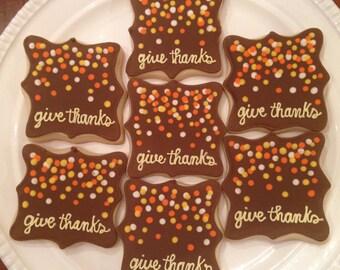 Thanksgiving Cookies | Thanksgiving Hostess Gift | Thanksgiving Gift | Thanksgiving Dessert | Give Thanks Cookies | One Dozen