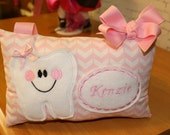 Personalized Tooth Fairy Pillow - Tooth Pillow - ChildsTooth Fairy PIllow - Girls Tooth Fairy Pillow - Pink Pillow - Girls Tooth Pillow