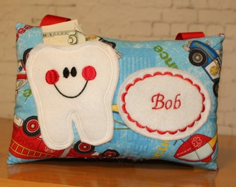 Boys Tooth Fairy Pillow - Firefighter Baby Shower - Firetruck Tooth Pillow - Firefighter Gift - Boys Tooth Pillow - Fairy Dust