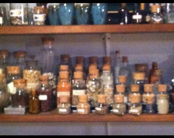 Ingredients, Herbs and Bottles for Witch's Potion Cupboards
