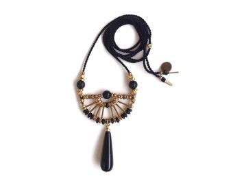 Camille Necklace  | Handmade Black Gemstone Pendant Necklace | Brass and Silk Statement Necklace | Artisanal Geometric Jewelry