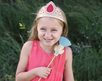 Avalor Princess Tiara, Scepter Wand & Flower Headband Set ~ Elena of Avalor Princess Crown ~ Princess Costume Tiara ~ Princess Wand ~