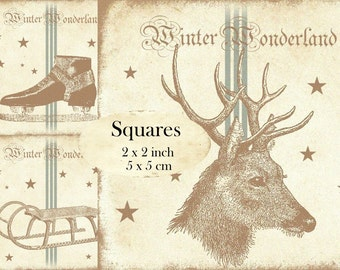 Winter Wonderland Deer Sleigh Ice Skating 2x2 inch squares Instant Download digital collage sheet TW170 snow