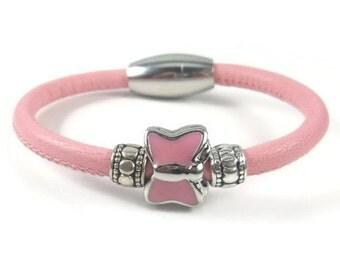 Girls Bracelet, Pink Leather Bracelet, Little Girls Jewelry, Childrens Jewelry, Girls Pink Bracelet, Childrens Bracelet, Baby Girl Bracelets