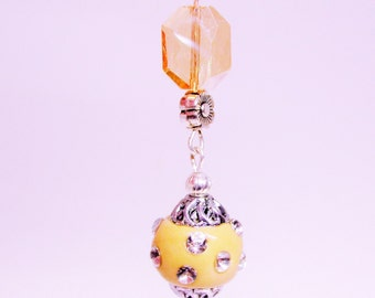 Yellow and Apricot Sparkle Earrings, Dangle Earrings, Apricot Earrings, Crystal Earrings, Yellow earrings