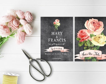 Printed Save The Date Cards / Vintage Rose on Chalkboard