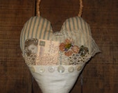 Antique Ticking Heart with vintage linen and lace - approximately  9 x 7 inches  Ready to Ship