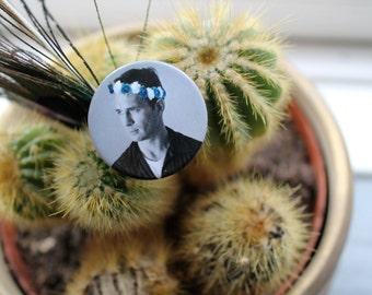 Jack Kerouac in a flower crown 32mm pin back badge