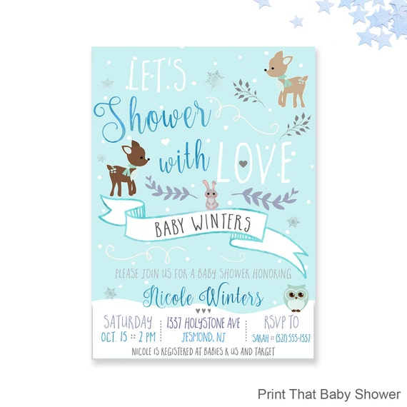 Winter baby shower invitations woodland winter baby shower il570xn filmwisefo