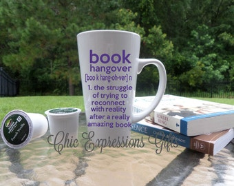 Book hangover tall latte 16 oz ceramic mug in white read books kindle nook allnighter reading book lover