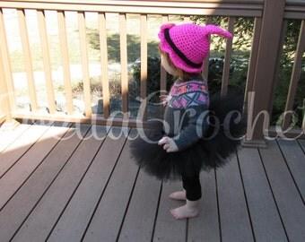Witch Costume, Halloween Costume, Witch Hat, Purple tutu, Pink, Orange Infant tutu, Baby Costume, Newborn Halloween JoellaCrochet