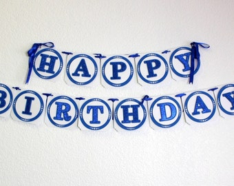 Blue Happy Birthday Banner, Birthday, Glitter Blue, Handcrafted Party Decor, Party supplies