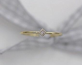 14k solid gold stackable ring  princess cut diamond ring minimalist ring stacking ring