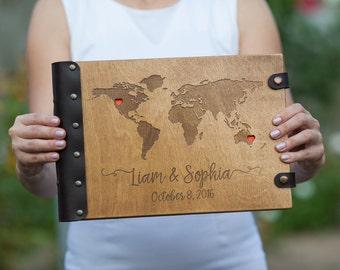 Map Guest Book, Wedding Guest Book, Guest Book, GuestBook, Custom Guest Book, Wedding, Wood Guest Book, Travel Guest Book, Photo Album