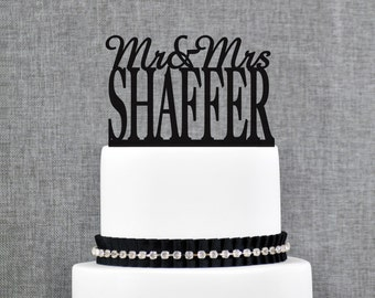 Custom Last Name Topper, Mr And Mrs Cake Topper, Surname Cake Topper, Gold Cake Topper, Topper For Wedding, Wedding Cake Topper (T007)