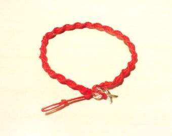 Anklet Red Awareness Ribbon Charm Heart Disease HIV Aids DUI Dare Epidermolysis Bullosa