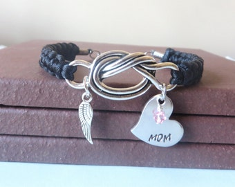 Mom Memorial Angel Wing Crystal Birthstone Hand Stamped Love Knot Bracelet You Choose Your Birthstone Charm and Cord Color(s)