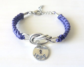 Purple Awareness Love Knot Ribbon Bracelet With Hand Stamped HOPE or LOVE Charm
