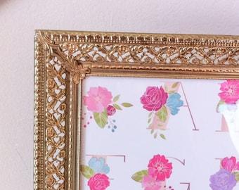 Large Vintage Gold Picture Frame, 11x14, Filigree Design